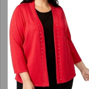 JM Collection  Stud-Bordered Open-Front Cardigan